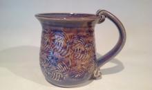 cone 10 leaf blue sandys mug